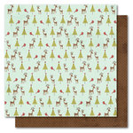 My Mind's Eye - I Believe Collection - Christmas - 12 x 12 Double Sided Glitter Paper - Reindeer, CLEARANCE