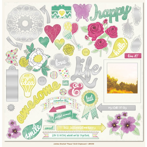 My Minds Eye - Jubilee Collection - Sherbet - 12 x 12 Chipboard Stickers - Elements - Peace