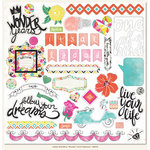 My Minds Eye - Jubilee Collection - Wild Berry - 12 x 12 Chipboard Stickers - Elements - Wonder