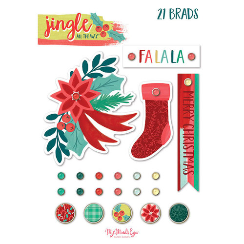 My Minds Eye - Jingle All the Way Collection - Christmas - Decorative Brads