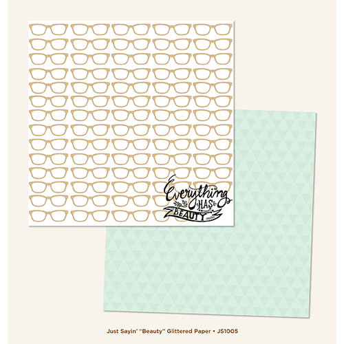 My Minds Eye - Just Saying Collection - 12 x 12 Double Sided Glitter Paper - Beauty