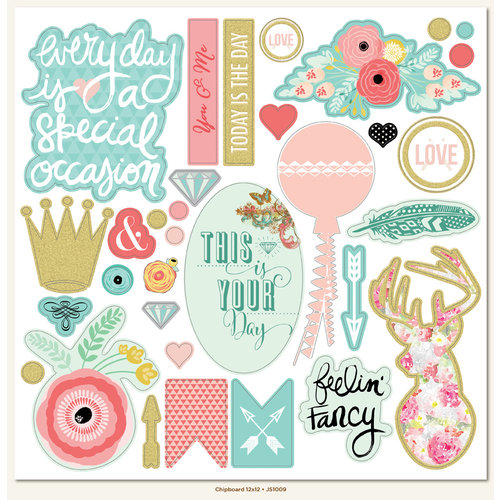 My Minds Eye - Just Saying Collection - 12 x 12 Chipboard Stickers - Elements