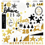 My Minds Eye - Joyful Collection - Christmas - 12 x 12 Chipboard Stickers - Elements with Foil Accents