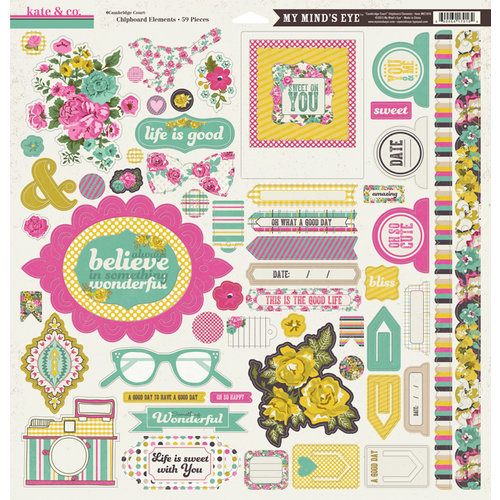 My Mind's Eye - Kate and Co Collection - Cambridge Court - 12 x 12 Chipboard Stickers