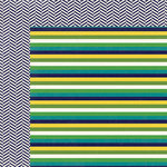 My Mind's Eye - Kate and Co Collection - Oxford Lane - 12 x 12 Double Sided Paper - Multi Stripe