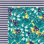 My Mind's Eye - Kate and Co Collection - Oxford Lane - 12 x 12 Double Sided Paper - Floral Burst
