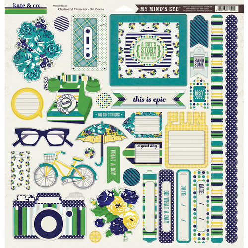 My Mind's Eye - Kate and Co Collection - Oxford Lane - 12 x 12 Chipboard Stickers
