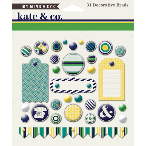 My Minds Eye - Kate and Co Collection - Oxford Lane - Decorative Brads