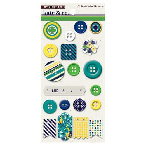 My Mind's Eye - Kate and Co Collection - Oxford Lane - Chipboard Buttons