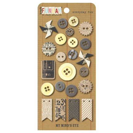 My Mind's Eye - Kraft Funday Collection - Everyday Fun - Buttons