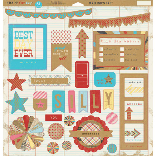 My Mind's Eye - Kraft Funday Collection - Happy Days - 12 x 12 Chipboard Stickers - Elements