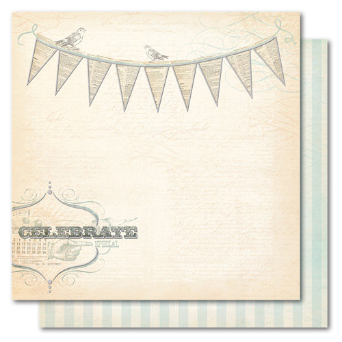 My Mind's Eye - Portobello Road Collection - 12 x 12 Double Sided Glitter Paper - Party Celebrate, CLEARANCE