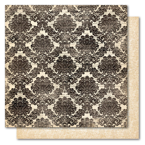 My Mind's Eye - Union Square Collection - 12 x 12 Double Sided Paper - Perfect Damask Print, CLEARANCE