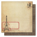 My Mind's Eye - Union Square Collection - 12 x 12 Double Sided Glitter Paper - Beautiful Day Paris, CLEARANCE