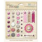 My Mind's Eye - Lost and Found 2 Collection - Blush - Decorative Brads with Glitter Accents - Beautiful Girl