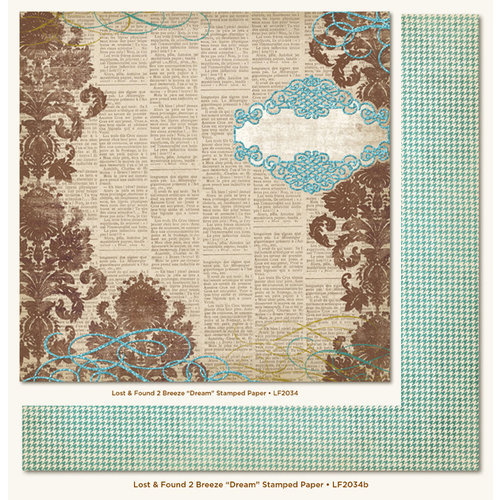 My Mind's Eye - Lost and Found 2 Collection - Breeze - 12 x 12 Double Sided Glitter Paper - Dream Stamped