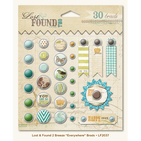 My Mind's Eye - Lost and Found 2 Collection - Breeze - Decorative Brads with Glitter Accents - Everywhere