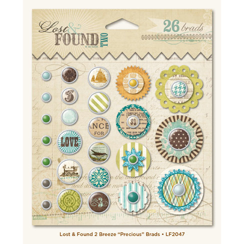 My Mind's Eye - Lost and Found 2 Collection - Breeze - Decorative Brads with Glitter Accents - Precious