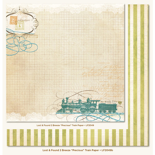 My Mind's Eye - Lost and Found 2 Collection - Breeze - 12 x 12 Double Sided Glitter Paper - Precious Train