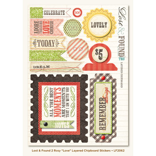 My Mind's Eye - Lost and Found 2 Collection - Rosy - 3 Dimensional Chipboard Stickers with Glitter Accents - Love