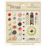 My Mind's Eye - Lost and Found 2 Collection - Rosy - Decorative Brads with Glitter Accents - Ordinary