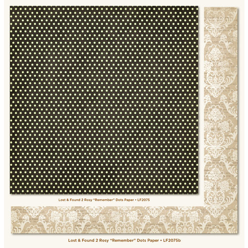 My Mind's Eye - Lost and Found 2 Collection - Rosy - 12 x 12 Double Sided Paper - Remember Dots