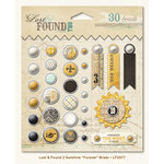 My Mind's Eye - Lost and Found 2 Collection - Sunshine - Decorative Brads with Glitter Accents - Forever