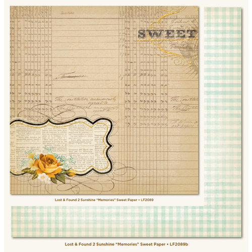 My Mind's Eye - Lost and Found 2 Collection - Sunshine - 12 x 12 Double Sided Glitter Paper - Memories Sweet