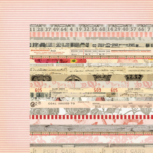 My Mind's Eye - Lost and Found 3 Collection - Ruby - 12 x 12 Double Sided Paper - Collage Stripe
