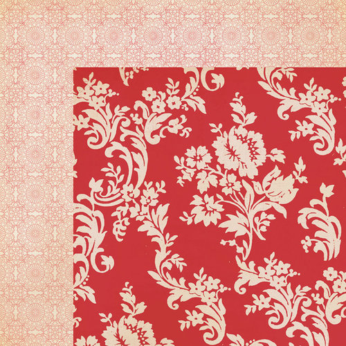 My Mind's Eye - Lost and Found 3 Collection - Ruby - 12 x 12 Double Sided Paper - Red Floral