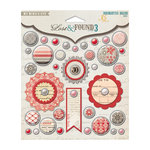 My Mind's Eye - Lost and Found 3 Collection - Ruby - Decorative Brads with Glitter Accents