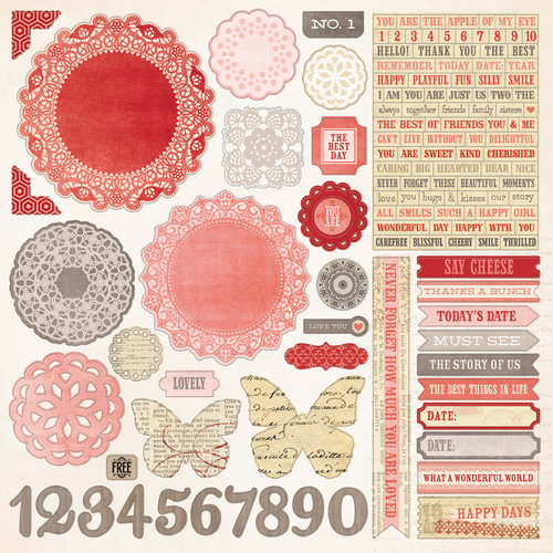 My Mind's Eye - Lost and Found 3 Collection - Ruby - 12 x 12 Cardstock Stickers