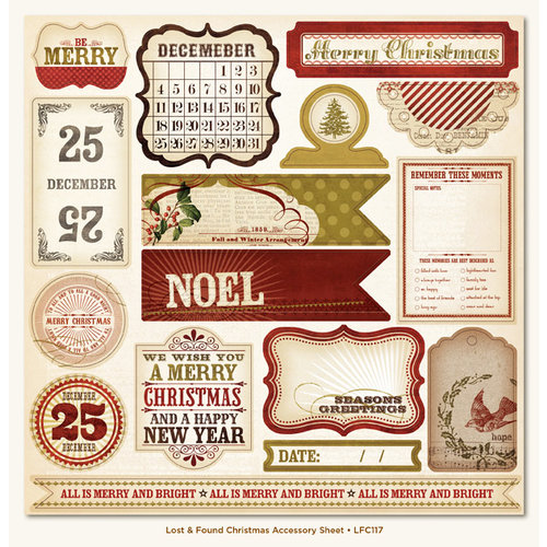 My Mind's Eye - Lost and Found Collection - Christmas - 12 x 12 Glitter Die Cut Paper - Lost and Found Christmas