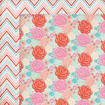 My Mind's Eye - Lucky in Love Collection - 12 x 12 Double Sided Paper - Floral Stripes