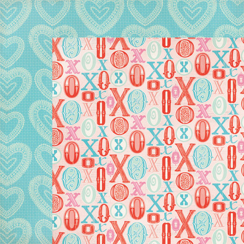 My Mind's Eye - Lucky in Love Collection - 12 x 12 Double Sided Paper - Hugs 'N' Kisses