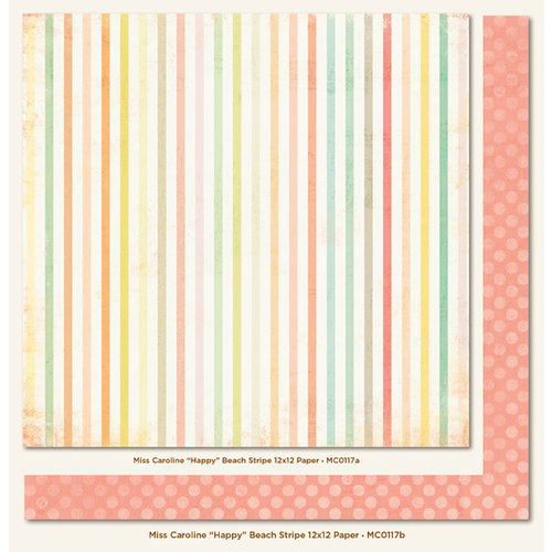My Mind's Eye - Miss Caroline Collection - Howdy Doody - 12 x 12 Double Sided Paper - Happy Beach Stripe