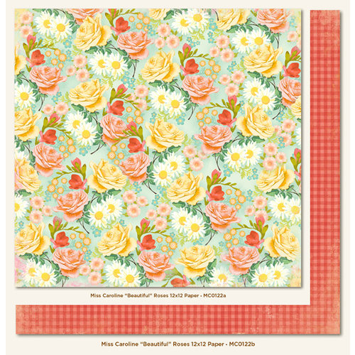 My Mind's Eye - Miss Caroline Collection - Howdy Doody - 12 x 12 Double Sided Paper - Beautiful Roses