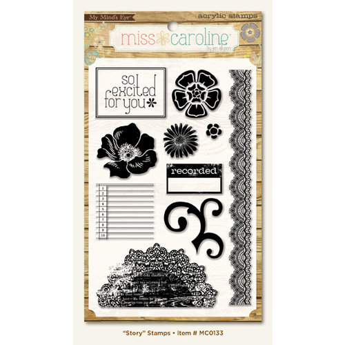 My Mind's Eye - Miss Caroline Collection - Fiddlesticks - Clear Acrylic Stamps - Story