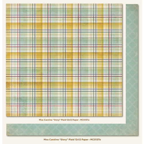 My Mind's Eye - Miss Caroline Collection - Fiddlesticks - 12 x 12 Double Sided Paper - Story Plaid