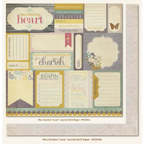 My Mind's Eye - Miss Caroline Collection - Fiddlesticks - 12 x 12 Double Sided Paper - Love Journal