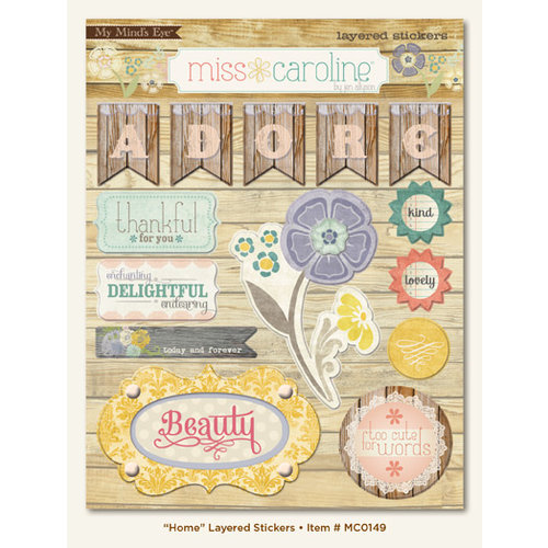 My Mind's Eye - Miss Caroline Collection - Fiddlesticks - 3 Dimensional Stickers with Pearl Accents - Home