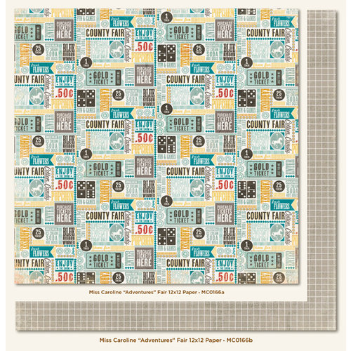 My Mind's Eye - Miss Caroline Collection - Dilly Dally - 12 x 12 Double Sided Paper - Adventures Fair