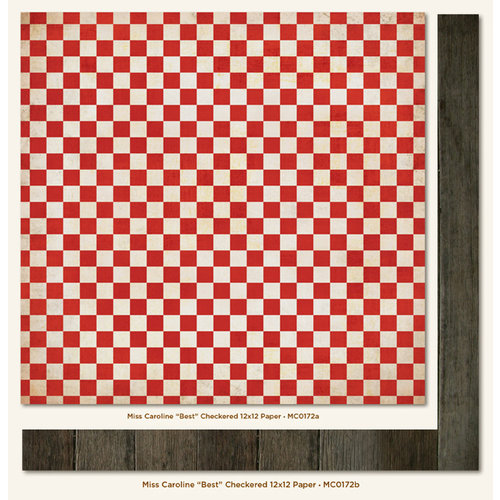 My Mind's Eye - Miss Caroline Collection - Dilly Dally - 12 x 12 Double Sided Paper - Best Checkered