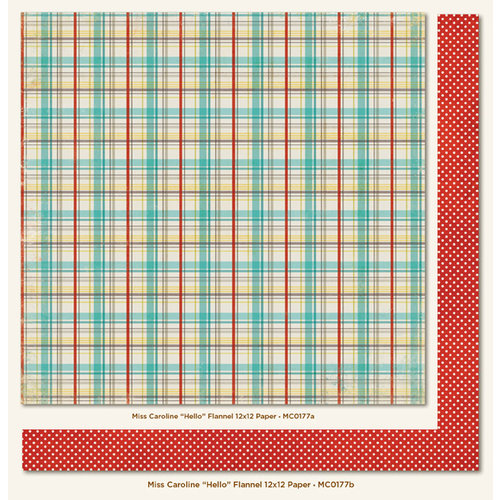 My Mind's Eye - Miss Caroline Collection - Dilly Dally - 12 x 12 Double Sided Paper - Hello Flannel