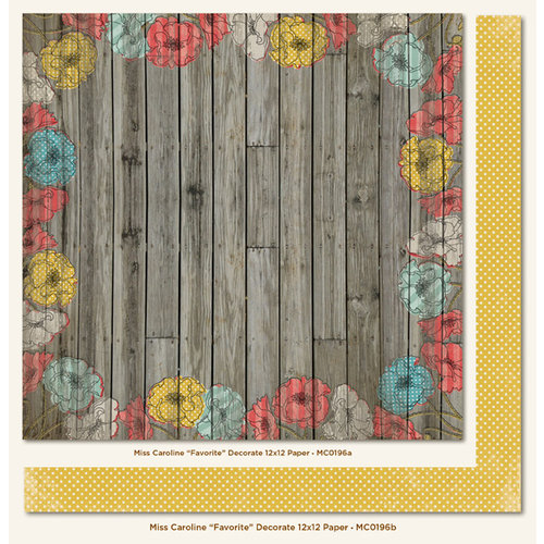 My Mind's Eye - Miss Caroline Collection - Dolled Up - 12 x 12 Double Sided Paper - Favorite Decorate