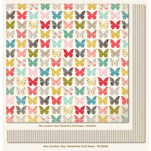 My Mind's Eye - Miss Caroline Collection - Dolled Up - 12 x 12 Double Sided Paper - Day Butterflies