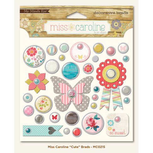 My Mind's Eye - Miss Caroline Collection - Dolled Up - Brads - Cute