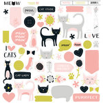 My Minds Eye - Meow Collection - 12 x 12 Chipboard Stickers - Elements