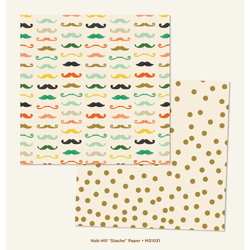 My Minds Eye - Market Street Collection - Nob Hill - 12 x 12 Double Sided Paper - Stache