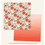 My Minds Eye - Christmas on Market Street Collection - 12 x 12 Double Sided Paper with Foil Accents - Pretty Poinsettias